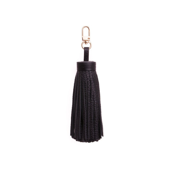 LEATHER TASSEL BLACK W/GOLD