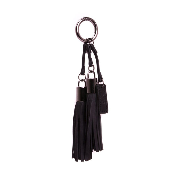 LEATHER TWIN TASSEL NAPPA BLACK W/GUN METAL