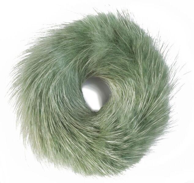 MINK HAIR TIE DUCK GREEN