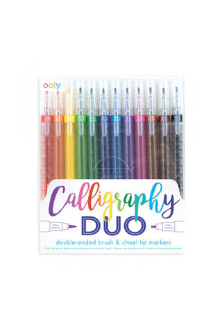 Calligraphy duo chisel and brush tip markers