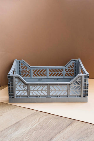 Folding Crate, Medium - Grey