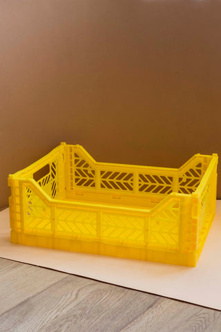 Folding Crate, Medium - Yellow