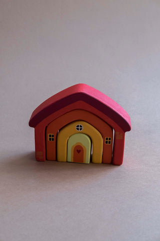 Wooden Building Blocks House