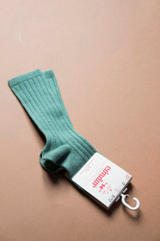 Wide ribbed cotton knee-high socks SAGE
