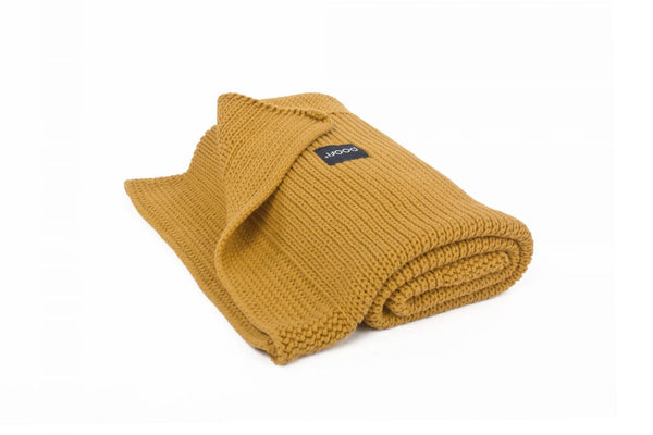 Knitted Organic Blanket Honeycomb Knit, 90X75, Mustard