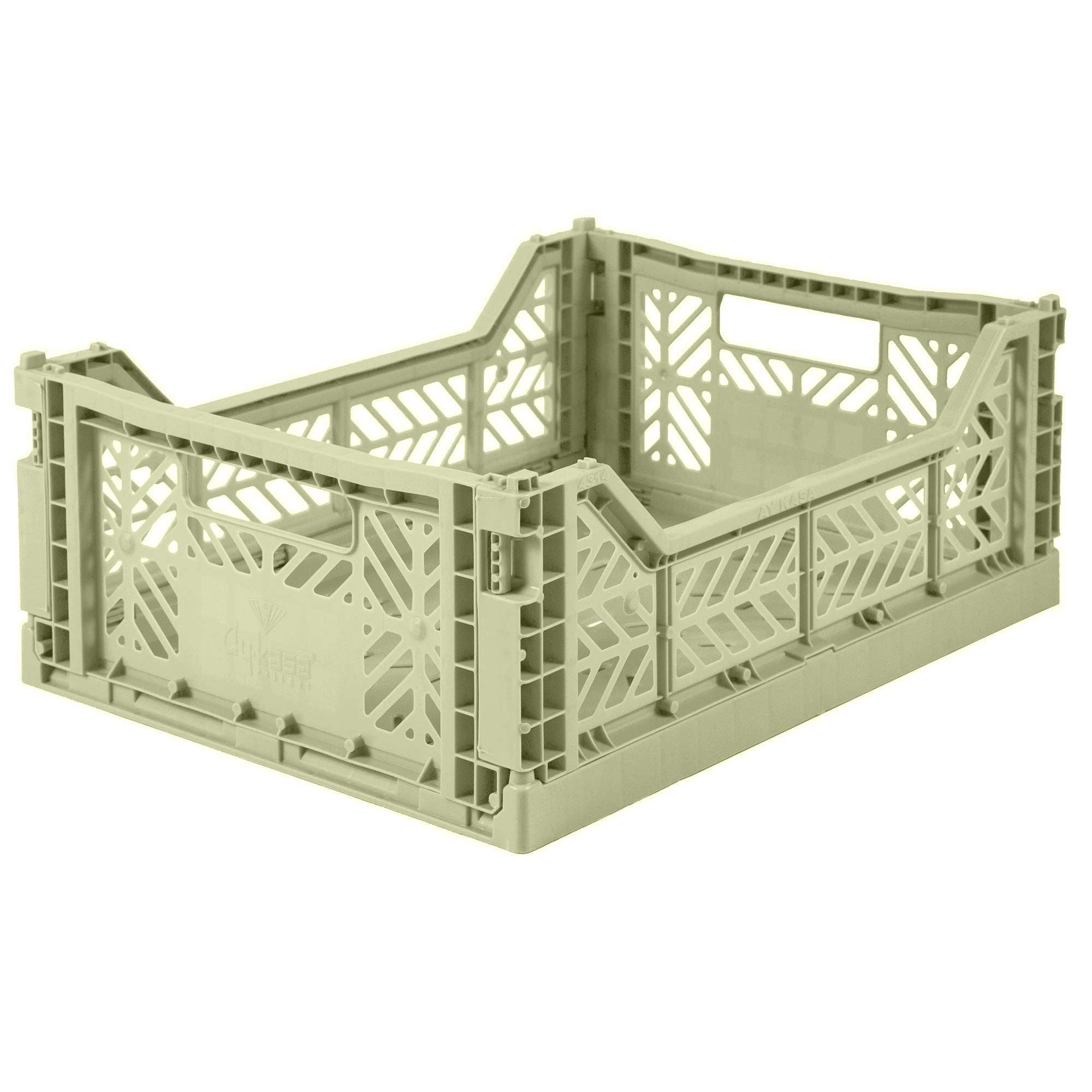 Folding Crate, Medium - Lime Cream