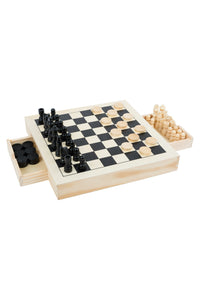Chess, Draughts & Nine Men's Morris Game Set