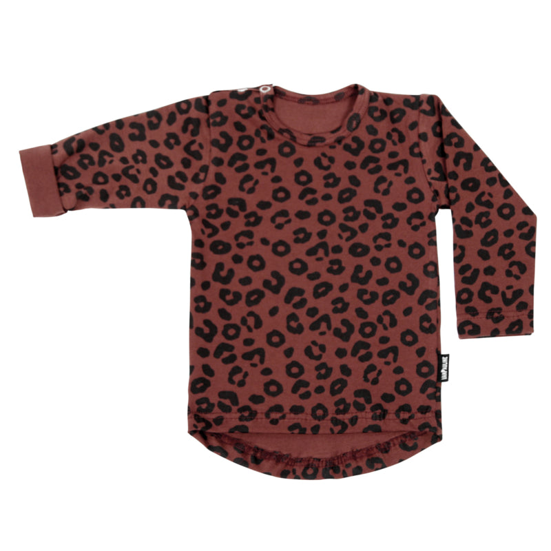 Long Tee Red Leopard