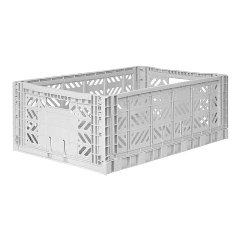 Folding Crate, Large - Light Grey