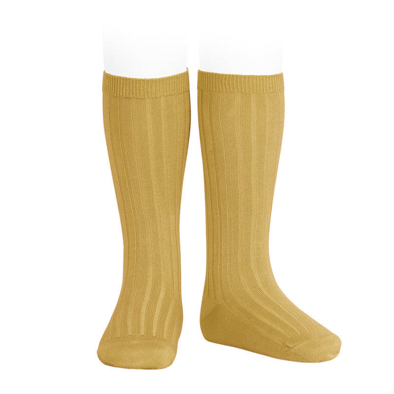 Wide ribbed cotton knee-high socks CURRY
