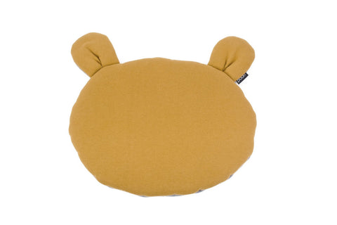 Organic Teddybear Cushion, Mustard-Gray