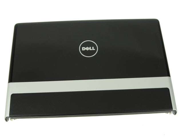 "Black - Dell OEM Studio XPS 1640 1645 1647 15.6"" LCD Back Cover Lid Top with Hinges - Black Leather Trim- 83P75"