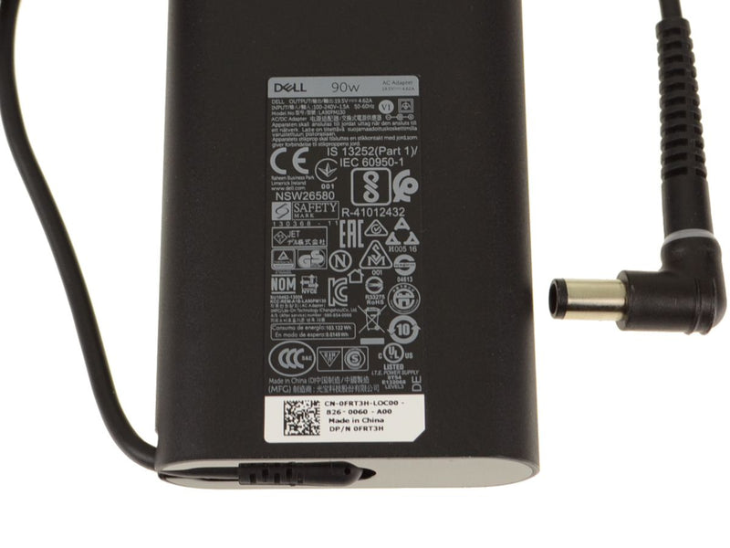 NEW Dell OEM Laptop Charger 90 Watt Genuine Slim AC Power Adapter - Right Angle - FRT3H