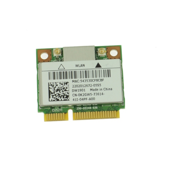 DW1901 Wireless WLAN WiFi 802.11 b/g/n for Dell OEM Inspiron 5720 / 7720 / Vostro 3560 + Bluetooth Half-Height Mini-PCI Express Card - K2GW5 0K2GW5 CNK2GW5