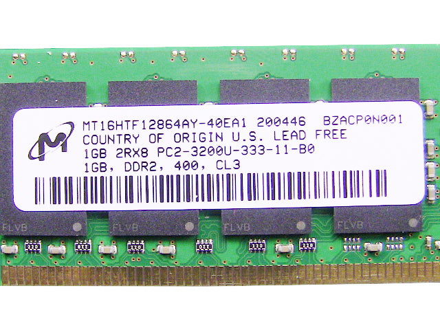 For Dell OEM DDR2 400Mhz 1GB PC2-3200U Non-ECC RAM Memory Stick - MT16HTF12864AY-40EA1 w/ 1 Year Warranty