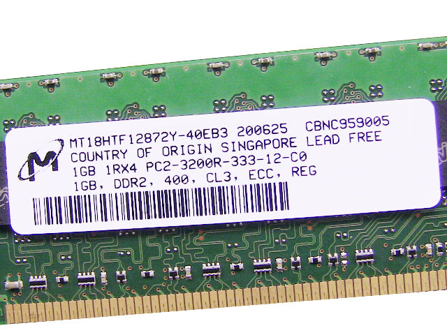 For Dell OEM DDR2 400Mhz 1GB PC2-3200R ECC RAM Memory Stick - MT18HTF12872Y-40EB3 w/ 1 Year Warranty