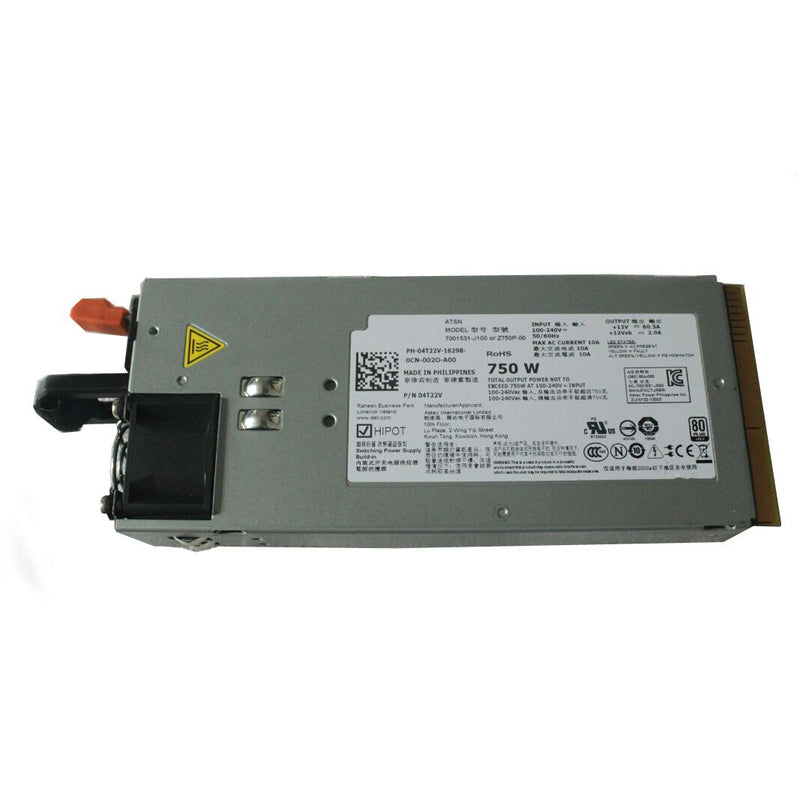 Dell 4T22V Z750P-00 750W Redundant Power Supply For PowerEdge R510 R810 R910 Server