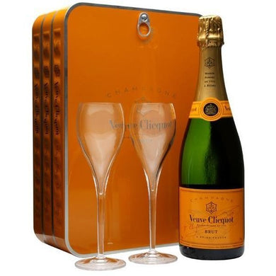 Veuve Clicquot Yellow Label (Gift Pack with Glasses) Brut Champagne (75cl) - liquormalaysia