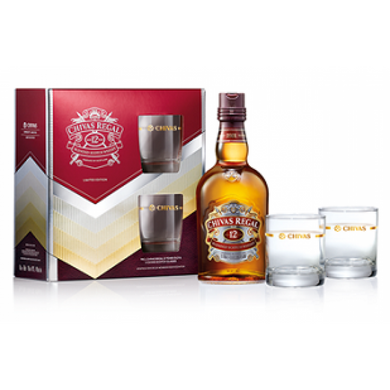Chivas Regal 12 Years (Gift Pack with Glasses) Blended Scotch Whisky (70cl) - liquormalaysia