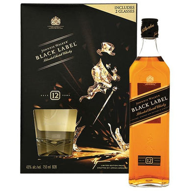 Johnnie Walker Black Label VAP F16 (Miniature + Glass) Blended Scotch Whisky (70cl) - liquormalaysia