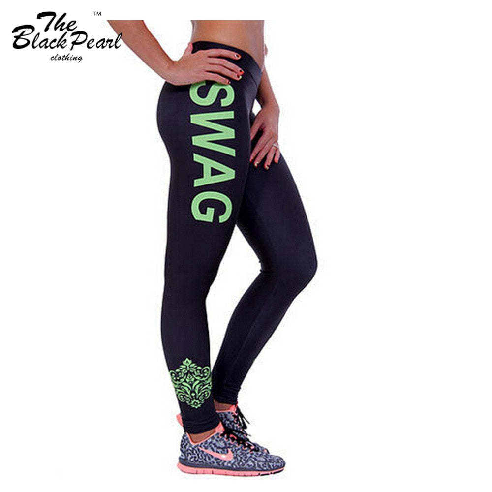 Ladies High Quality Swag Letter Print Leggings for Yoga or Working Out