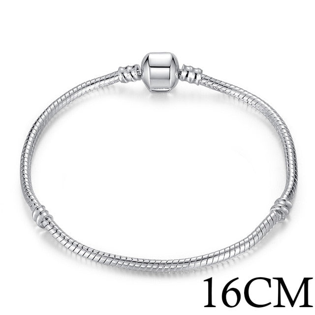 BAMOER 5 Style Silver Color LOVE Snake Chain Bracelet & Bangle 16CM-21CM  PA1104