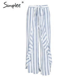 Simplee Ladies Stripe Split Wide Leg Summer Pants