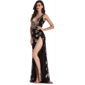CWLSP Ladies Bling Side Split Evening Beach Party Dress