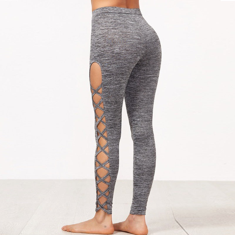 Ladies Slim Solid Leggings for Yoga and all Fitness Activities.  Leggings Are Hollowed out On Sides