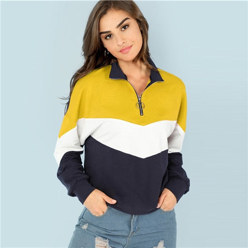 SHEIN Multicolor O-Ring Zip Front Cut and Sew Sweatshirt