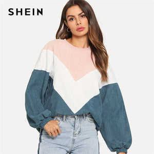 SHEIN Multicolor Cut and Sew Chevron Sweatshirt