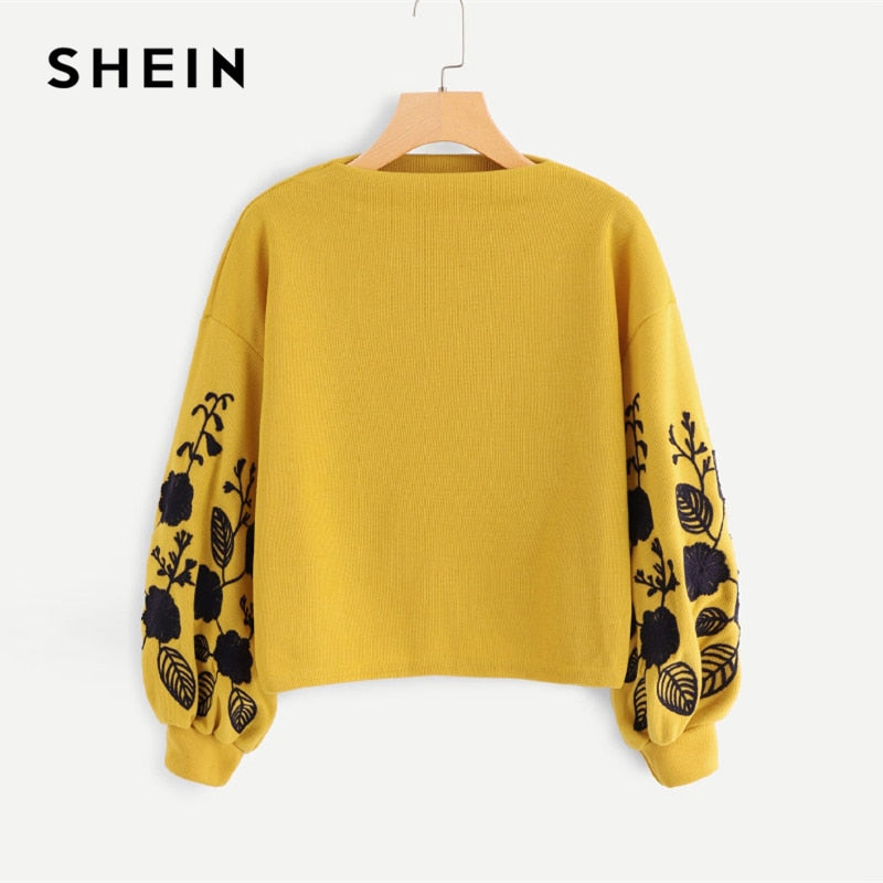 SHEIN Ginger Preppy Floral Embroidered Cowl Neck  Sweatshirt 2