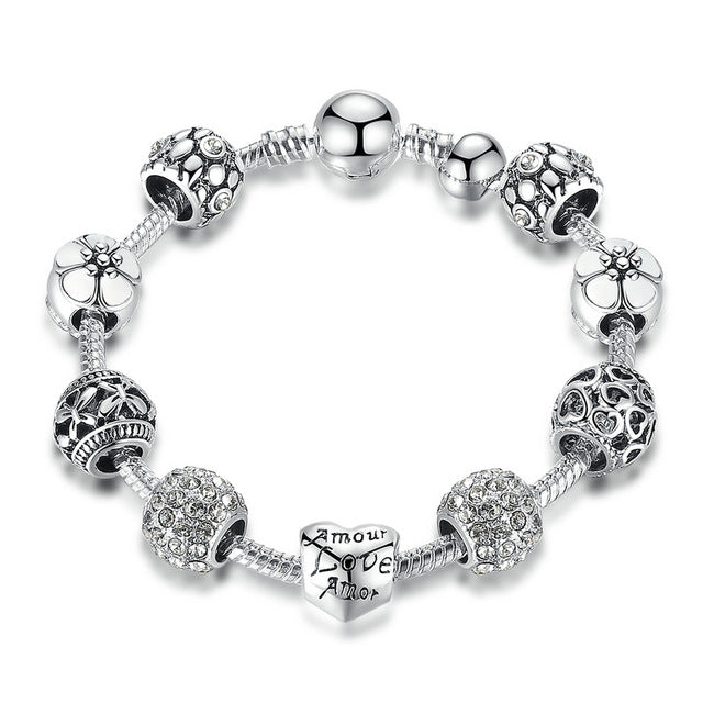 BAMOER Antique Silver Charm Bracelet & Bangle with Love and Flower Bead 18CM 20CM 21CM PA1455