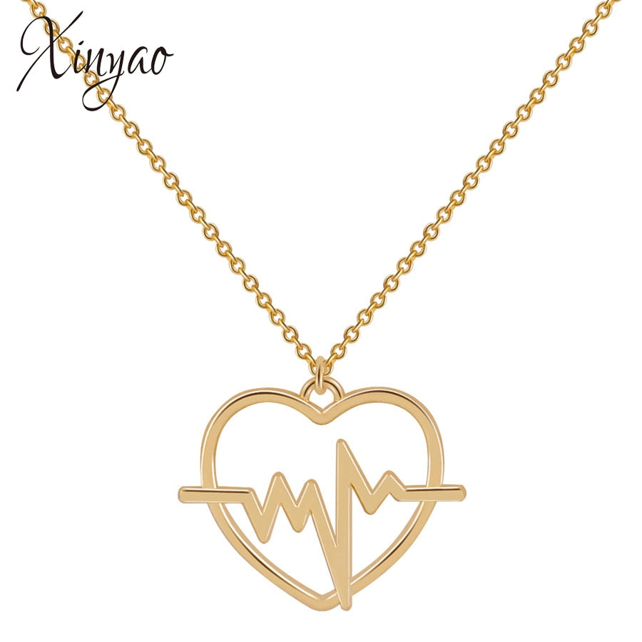 XINYAO Fashion Gold Silver Color Heart Pendant Necklace