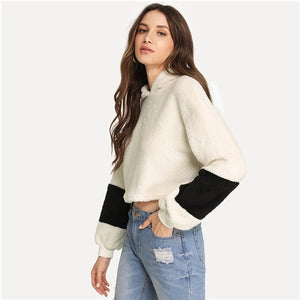 SHEIN White  Crop Teddy Color-block  Pullover Hoodie Sweatshirt