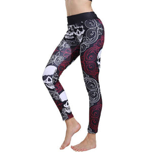 Ladies Push Up Yoga Workout Leggings with Halloween Print