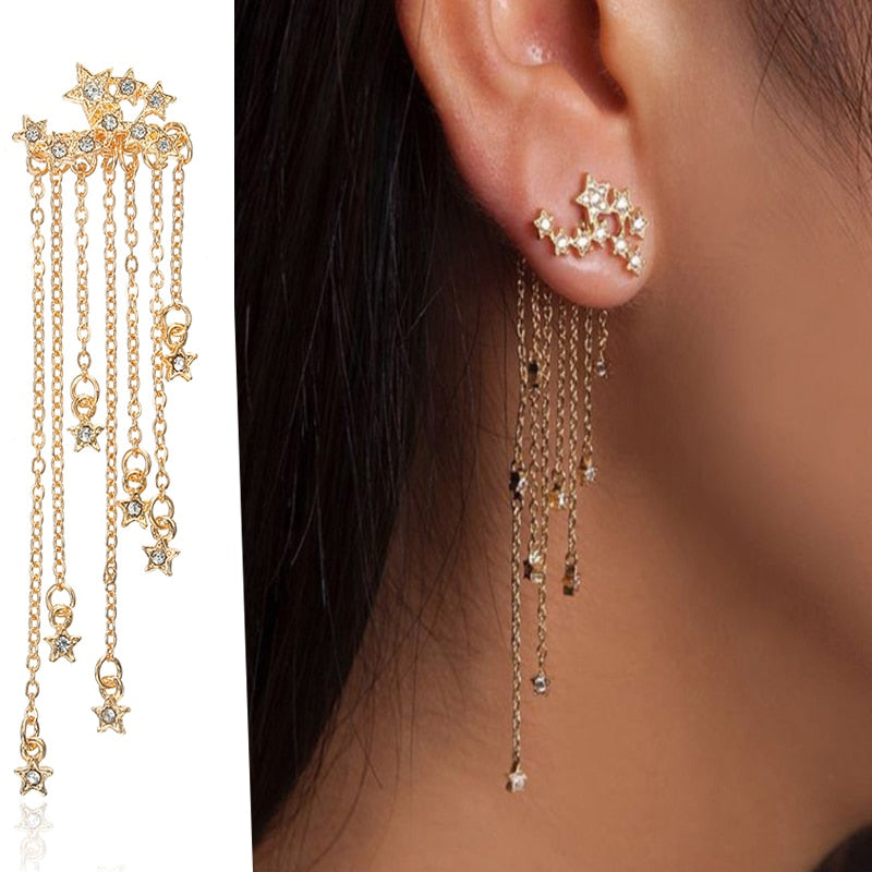 Retro Tassel Metal Star Drop Earrings