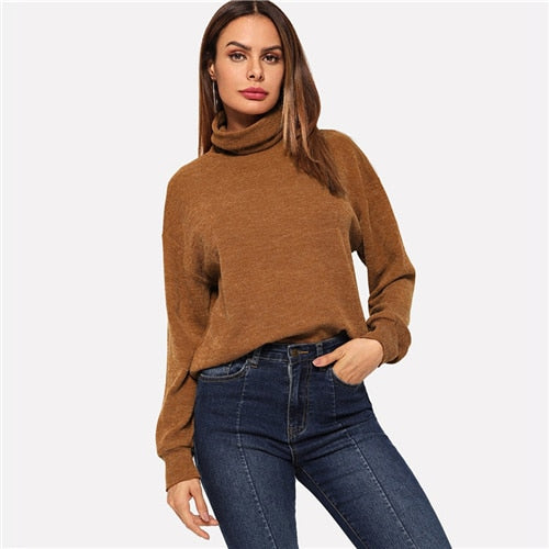 SHEIN Brown High Neck Casual Winter Pullover Sweatshirt