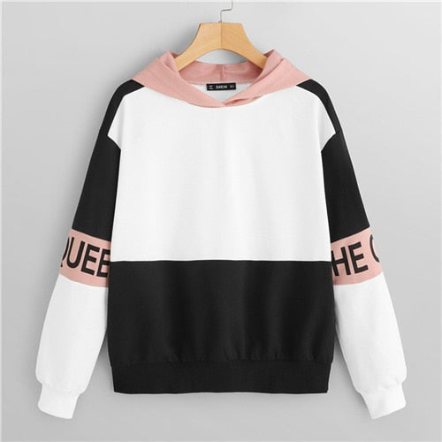SHEIN Multicolor  Color Block Letter Print Pullover Hooded Sweatshirt