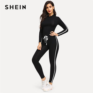 SHEIN Ladies Athletic Black Round Neck Striped Top and Drawstring Waist Plain Pants Sets