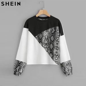 SHEIN Color Block Snake Skin Sweatshirt
