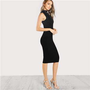 SHEIN Ladies  Black High Neck Rib Knit Sleeveless Knee Length Summer and Spring Dress