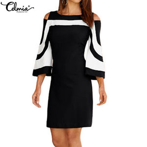 CEIMIA Plus Size Ladies  Dress with  Black/ White Color-block and 3/4 Sleeves