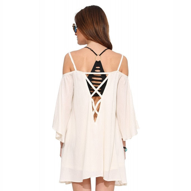 HDY Ladies and Teens Fashion Mini Dress in White/Black with Off the Shoulder  with Slash Neck Cut Out