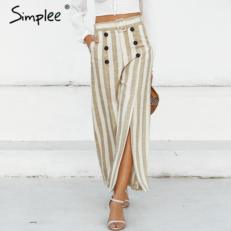 Simplee Ladies Striped Split Sash Casual Pants with Wide Leg Button Linen Spring or Summer Capris