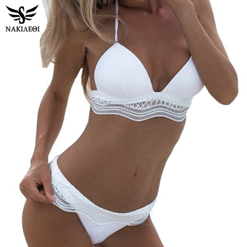 NAKIAEOI  Ladies Sexy White Lace Bikini