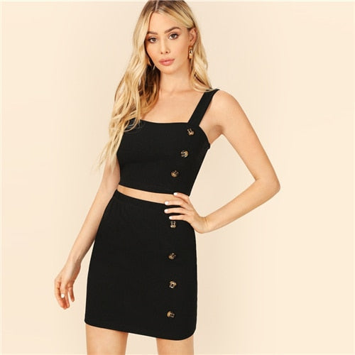 SHEIN Black Buttoned Thick Strap Plain Top And Skirt