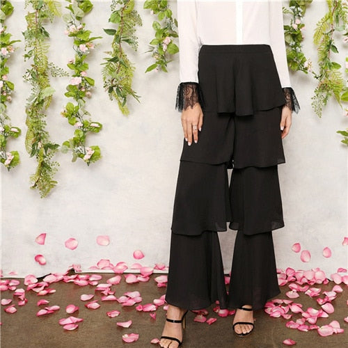 SHEIN Ladies Black Zip Tiered Layered Ruffle Pants for Spring and Summer