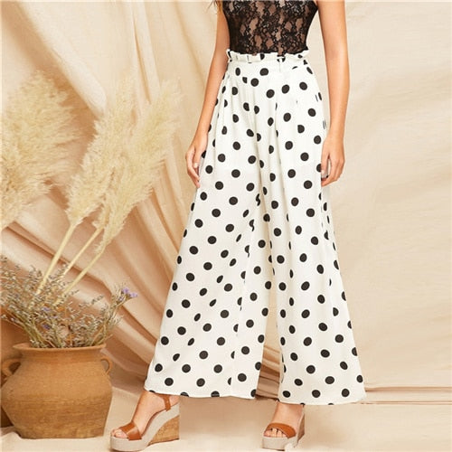 SHEIN Boho White Paperbag Waist Polka Dot Wide Leg Belted Loose Pants