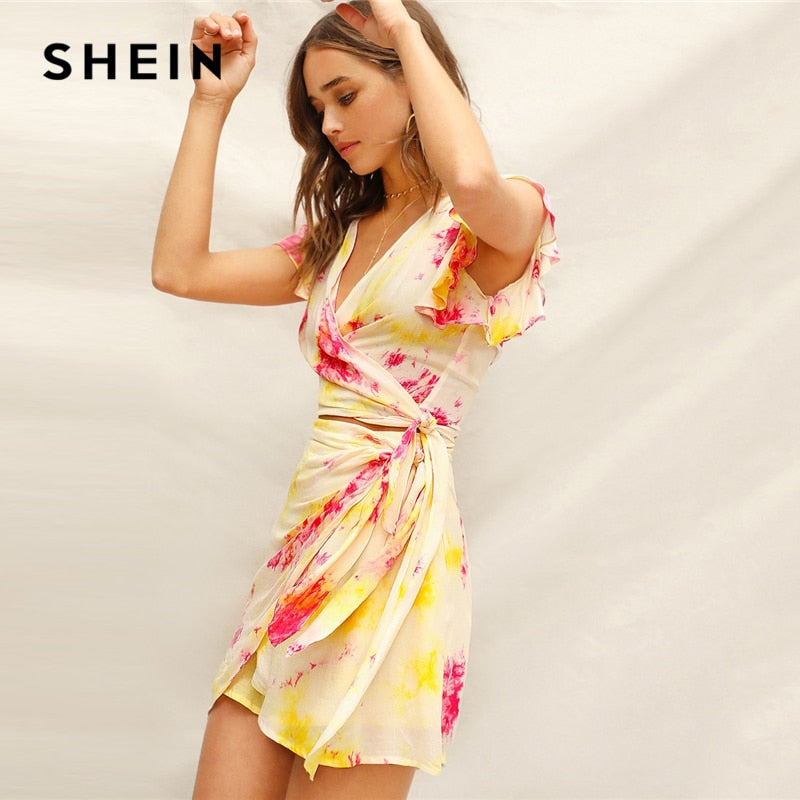 SHEIN  Ladies Bohemian Tie Dye Wrap Knot Waist Crop Top and Belted Mini Skirt Set
